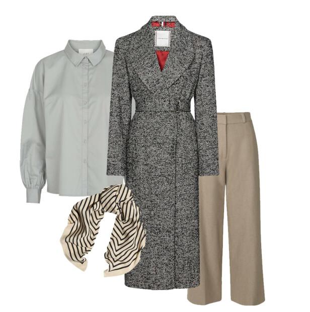 FÅ STILEN: Skjorte fra Just Female, kr 1200. Kåpe fra Tommy Hilfiger, kr 3950. Skjerf fra Toteme, kr 1800. Bukse fra Samsøe & Samsøe.