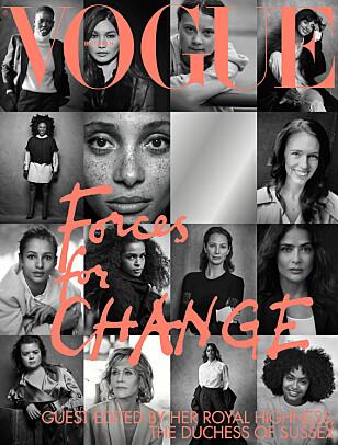 COVER: 15 sterke og engasjerte kvinner - som gjesteredaktør hertuginne Megan selv har plukket ut - pryder september 2019-utgaven av britiske Vogue. FOTO: Faksimile // Vogue