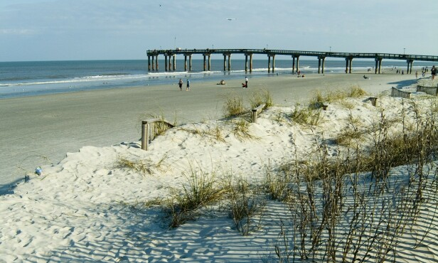 ÅSTEDET: Det var på St. Augustine beach i Florida at dødsulykken fant sted. FOTO: NTB Scanpix