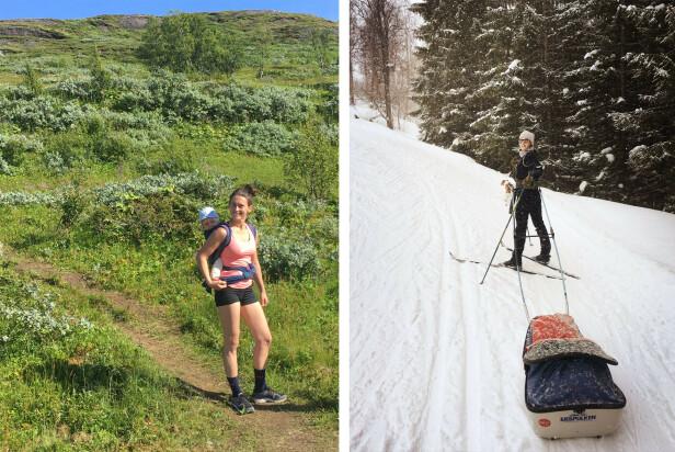 FRILUFTSENTUSIAST: Heidi Ruud Ellingsen har arvet sine foreldres iver for friluftsliv. Her fra to turer med sønnen Abel. FOTO: Privat