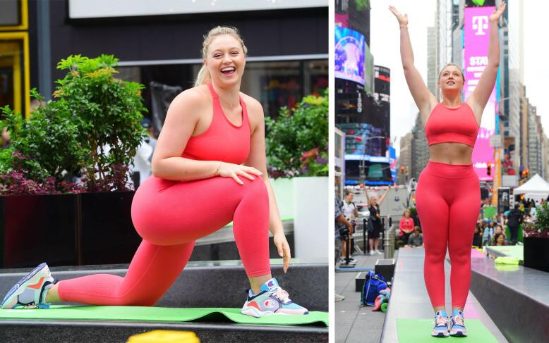 SPORTY DAME: Iskra Lawrence fremmer et sunt kroppsideal. Her fra en yoga-session i Times Square i New York i sommer. FOTO: NTB Scanpix