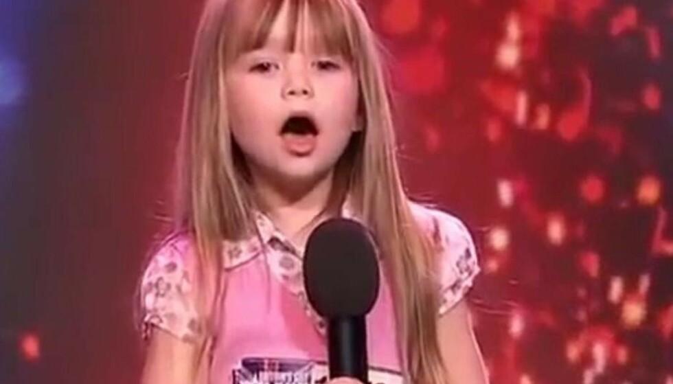 RØRENDE: Lille Connie Talbot gjorde enormt inntrykk da hun sang «Somewhere Over The Rainbow» på TV i 2007. I dag er hun 18 år gammel og satser fremdeles på musikken. FOTO: Skjermdump (YouTube)