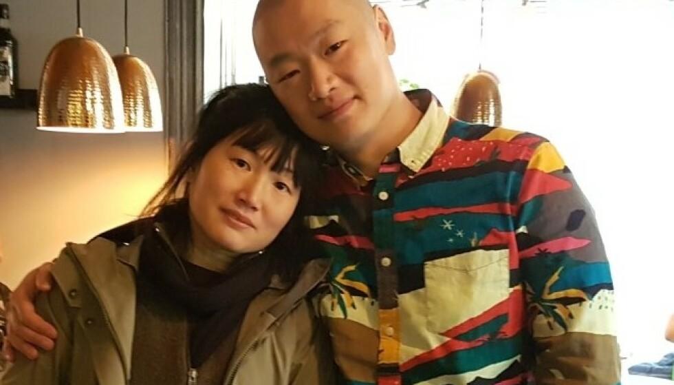 <strong>DET FØRSTE MØTET:</strong> To måneder etter at de fikk DNA-treff via MyHeritage møttes Maria og Henrik for første gang. FOTO: Privat