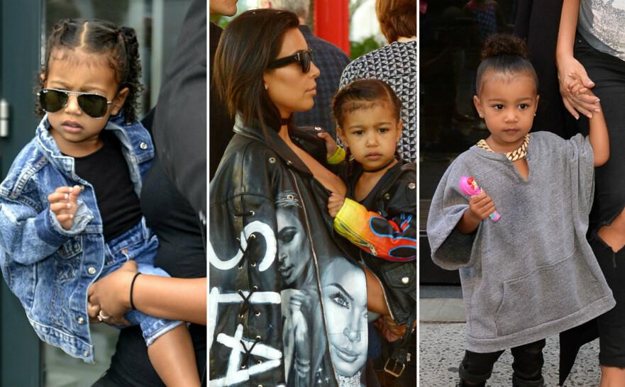 TRENDY: North West har hele livet blitt kledd opp i fasjonable antrekk av mamma Kim Kardashian og pappa Kanye West. Nå, som 6-åring, har hjerteknuseren selv begynt å fatte interesse for mote. FOTO: Scanpix