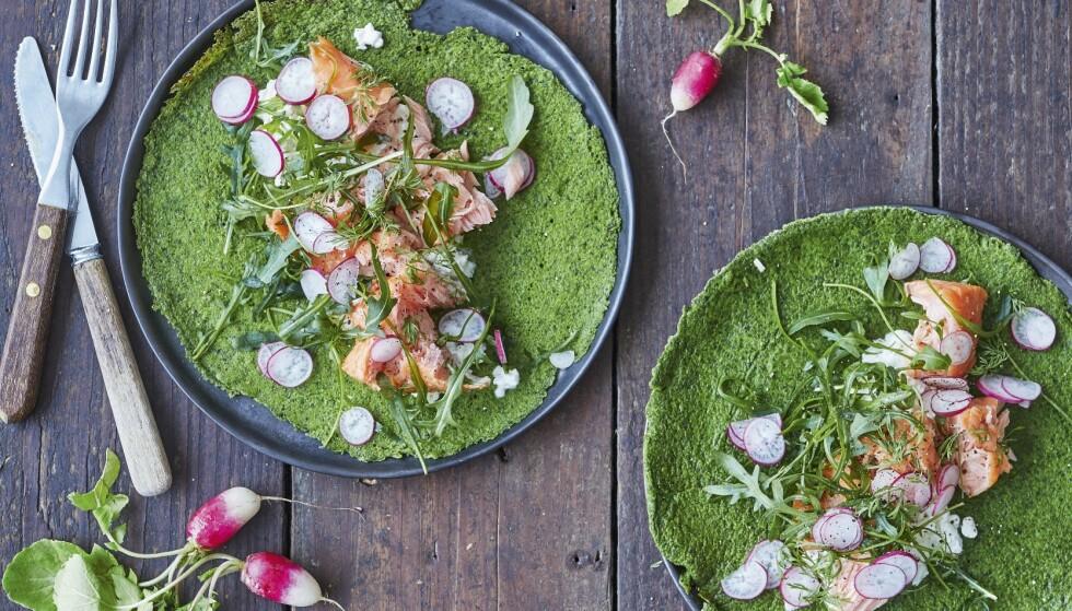 Grønne pannekaker med lekkert laksefyll. FOTO: Nina Malling