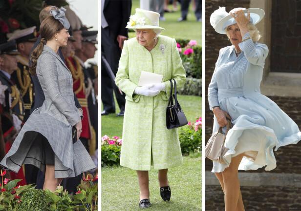 HOLDER SEG PÅ PLASS: Dronningens (i midten) plagg skal visstnok holde seg i ro ved hjelp av vekter. Det er tydelig at Kate (t.v.) og Camilla (t.h.) ikke har tatt i bruk dette trikset. Foto: Scanpix