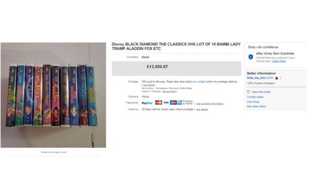 SVIMLENDE PRIS: For rundt 152 000 norske kroner var det en heldig kjøper (eller skal vi si selger!) som fikk tak i 10 VHS-kassetter med Disney-klassikere. FOTO: Skjermdump // eBay