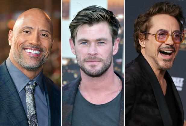 TOPPER LISTA: Dwayne Johnson, Chris Hemsworth og Robert Downey Jr. er de best betalte skuespillerne i verden. FOTO: Scanpix