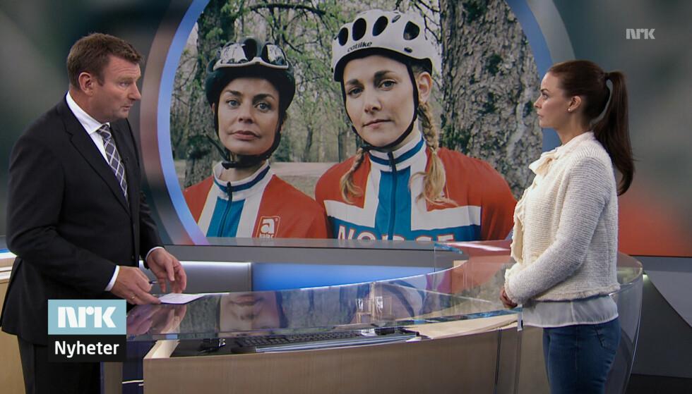 NYHETENE: Tidligere proffsyklist Grete Stein (spilt av Agnes Kittelsen) stiller opp på nyhetene for å avkrefte at hun har hatt noe med dopingen å gjøre. Her med nyhetsanker Jon Gelius - som spiller seg selv. FOTO: Norsk Filmdistribusjon