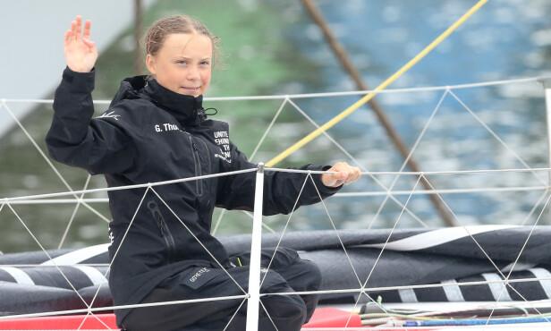 FORBILDE: Greta Thunberg har uten tvil bidratt til en global bevisstgjøring hva gjelder klima og miljø. Her om bord på seilbåten Malizia II i august. FOTO: NTB Scanpix