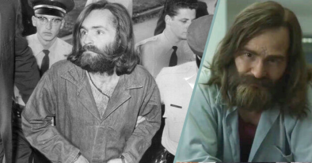SKREMMENDE LIK: Så liker Damon Herriman at han spiller Manson på film også. Bildecollage: Baam.se
