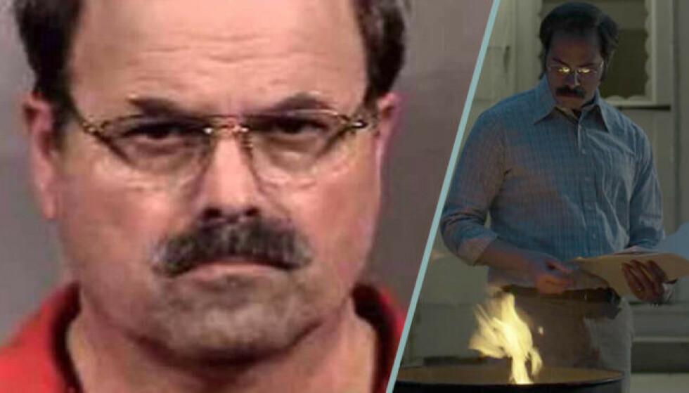 AKTIV I MENIGHETEN: T.V: Dennis Rader sitter fengslet for resten av livet og er 74 år. Skuespiller Sonny Valicenti er påfallende lik originalen. Bildecollage: Baam.se