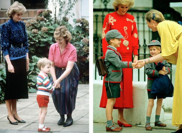 DEN GANG DA: Prinsesse Diana med sine to sønner i henholdsvis 1985 og 1989. Til venstre er en tre år gammel prins William på vei til Jane Mynors nursery school i London. Til høyre er det lillebror prins Harrys første skoledag på Wetherby School i Notting Hill. FOTO: NTB Scanpix