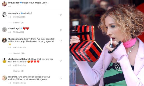 HYLLES I KOMMENTARFELTET: Sarah Jessica Parker, som er kjent for sin smokey eyes-look, hylles for å ha vist seg helt uten sminke på sosiale medier. FOTO: Skjermdump Instagram og NTB Scanpix