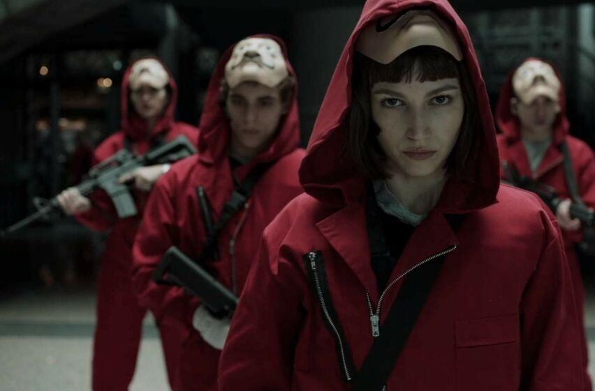 SPENNINGSSERIE: Spanske «La Casa de Papel» kretser rundt en gruppe kriminelle som slår seg sammen for å utføre århundrets ran. FOTO: Netflix
