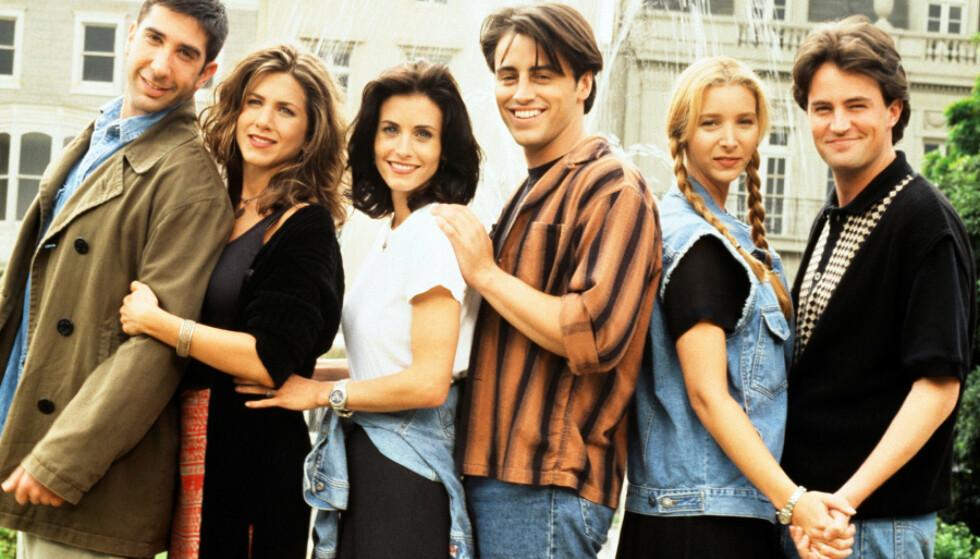DEN GANG DA: David Schwimmer (f. v.), Jennifer Aniston, Courteney Cox, Matt LeBlac, Lisa Kudrow og Matthew Perry avbildet i 2004. FOTO: NBC