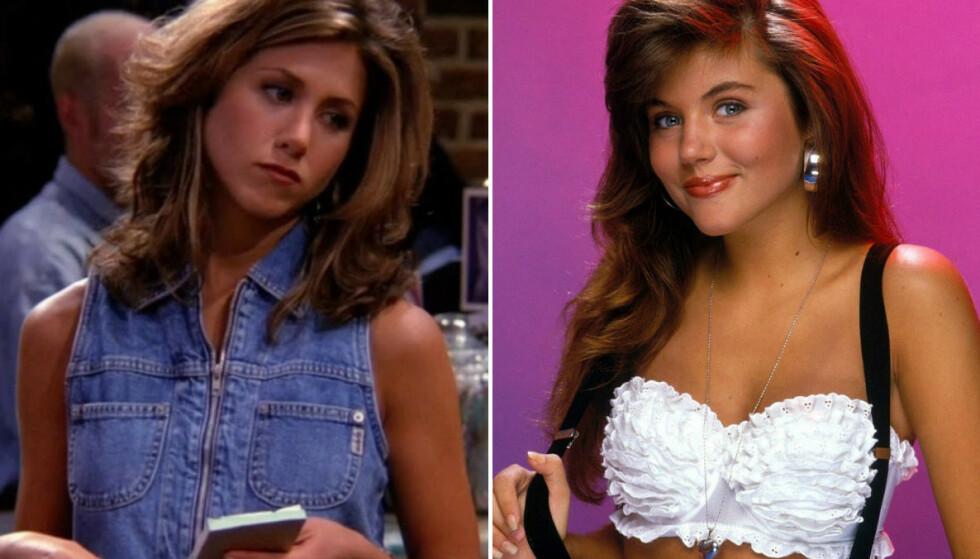KNIVET OM ROLLE: Jennifer Anistons Rachel Green kunne vært spilt av Tiffani Thiessen (t. h.). FOTO: Skjermdump