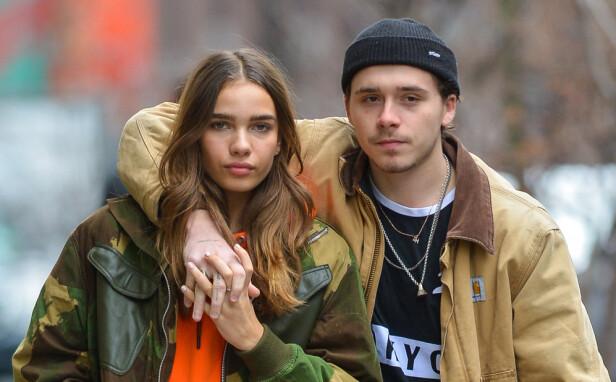 BRUDD: Denne sommeren ble det slutt mellom modellen Hana Cross og Brooklyn Beckham. De hadde datet siden våren 2018. FOTO: NTB Scanpix