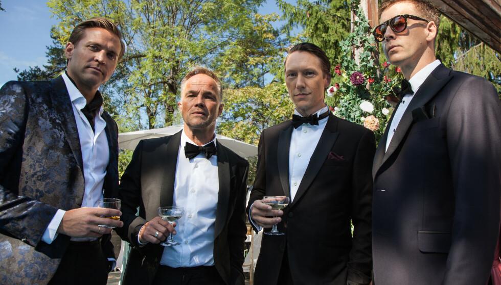 GUTTEKLUBBEN GREI PÅ SPEED: Henrik (Tobias Santelmann), Jeppe (Jon Øigarden), Adam (Simon J. Berger) og William (Pål Sverre Hagen) er hotshots i finansmiljøet, og skyr ingen midler for å få det som de vil. Det går utover både kone og barn - og tidvis også dem selv. FOTO: Ingeborg Klyve // Fremantle // NRK