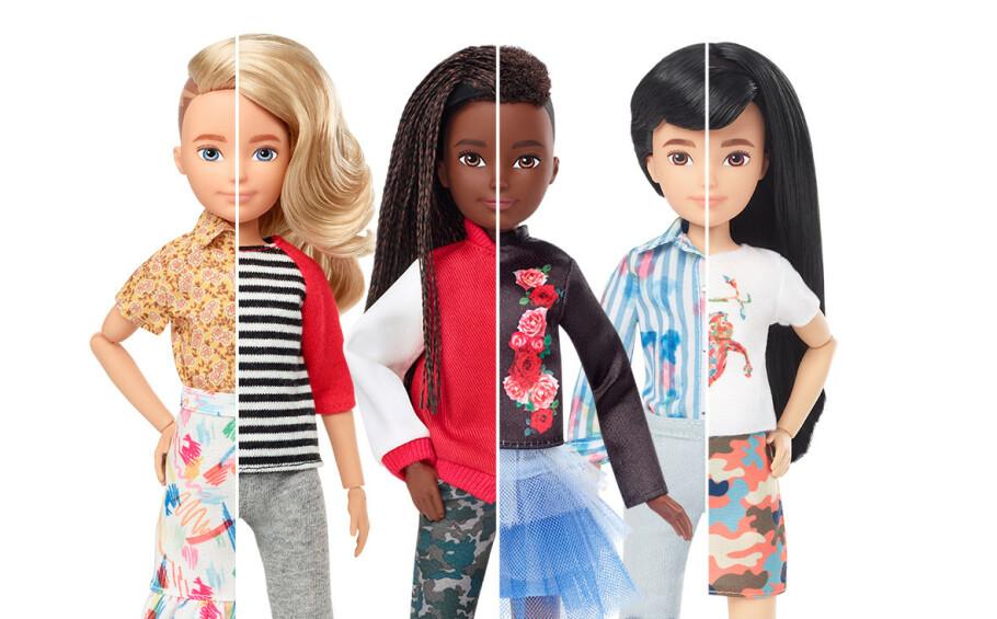 PÅ TIDE: I slutten av september ble de kjønnsnøytrale dukkene lansert verden over. Det er Mattel, som står bak Barbie-dukken, som har laget dukkeserien Creatable World. FOTO: Mattel