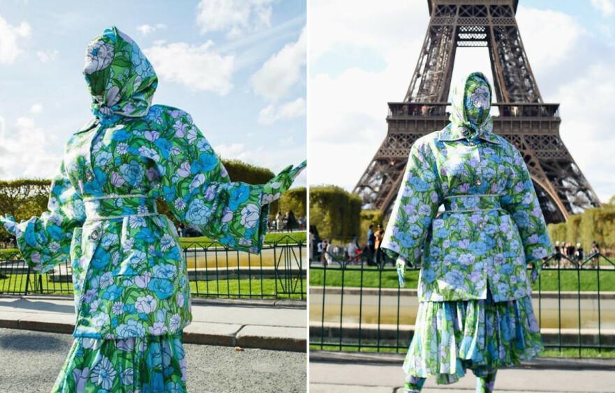<strong>SPREKT ANTREKK:</strong> Det vakte oppsikt da den verdenskjente artisten poserte foran Eiffeltårnet iført denne kreasjonen. FOTO: Scanpix