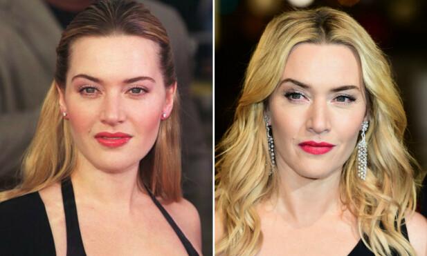 IKKE ÉN DAG ELDRE: Nesten 20 år skiller disse bildene – men Kate Winslet har så vidt forandret seg! FOTO: Scanpix