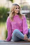 Strikkeoppskrift Rosa sløyfe genser i myk alpakka