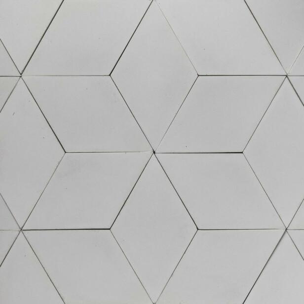 Lov å drømme om nytt gulv også! Diamantformede sementfliser (kr 1590 per kvm, Souk). FOTO: Produsenten