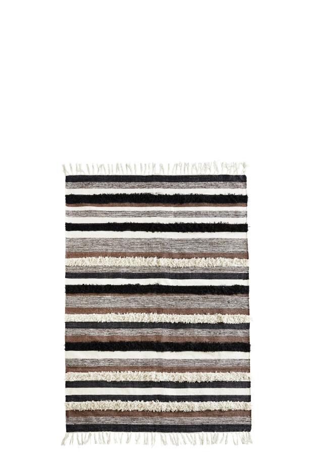 Stripet bomullsteppe, 120×180 cm (kr 1680, Madam Stoltz). FOTO: Produsenten