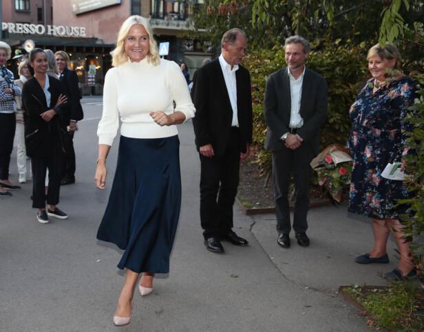 <strong>FØRST UT:</strong> Kronprinsesse Mette-Marit på et arrangement på Litteraturhuset i Oslo 21. august 2018. FOTO: NTB Scanpix