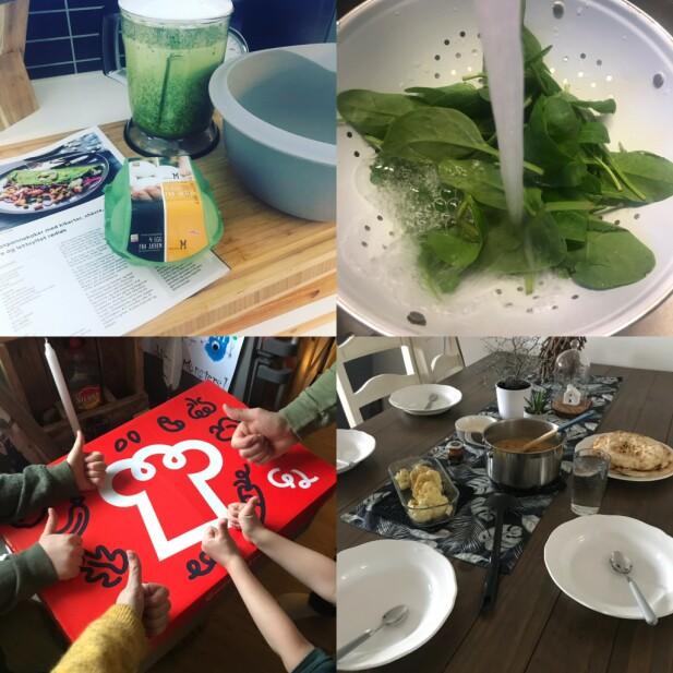 ENKELT OG GODT: Oppskriftene var enkle, maten falt i smak - og hele familien ble mer involvert i matlagingen.