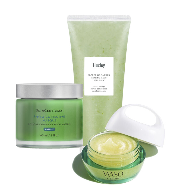 Huxley Healing Mask: Keep Calm, kr 270. SkinCeuticals Phyto Corrective Masque, kr 690. Waso Beauty Sleeping Mask, kr 495.
