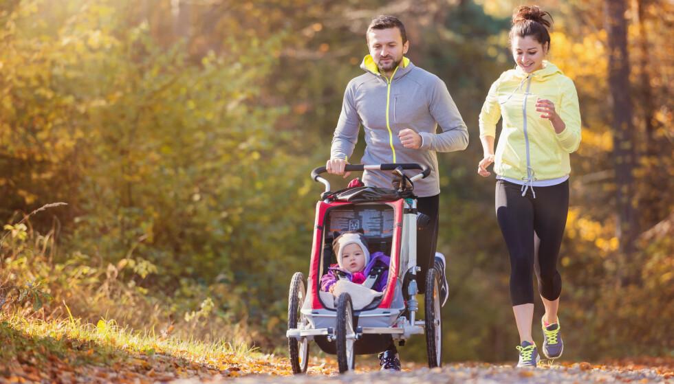 JOGGEVOGN: For mange småbarnsforeldre er turen med barnevogn treninga de får, som her med såkalt joggevogn.  FOTO: NTB scanpix