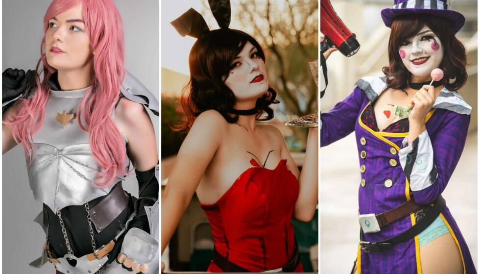 COSPLAY: Tre av Dayss' mange, svært så gjennomførte kostymer. FOTO: Instagram (@autumndayss)