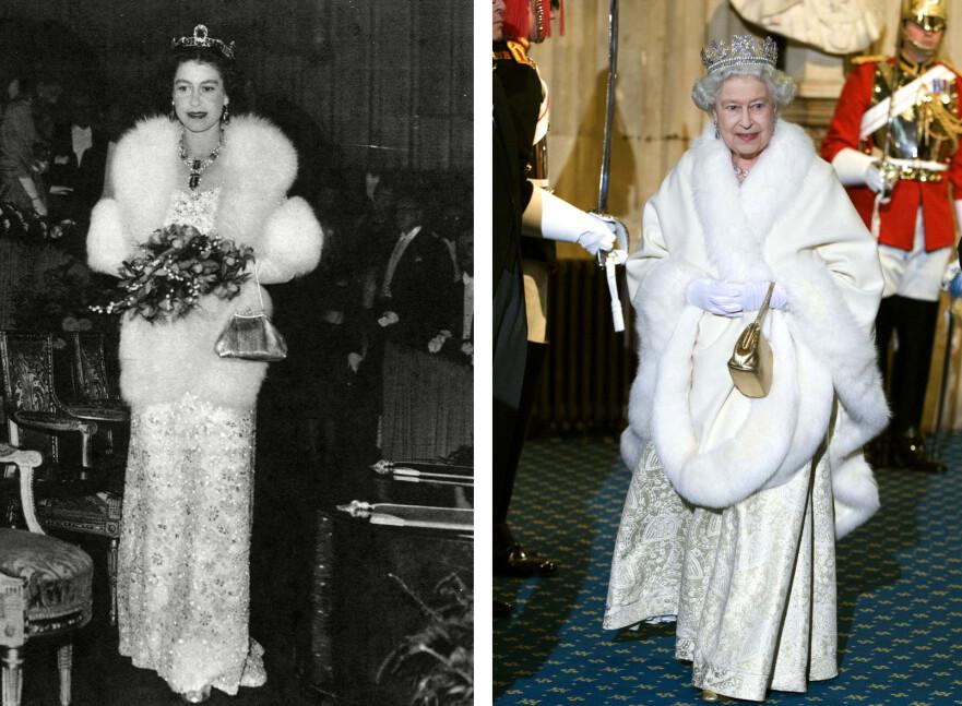 PELSFORBUD: Dronning Elizabeth ønsker ikke lenger at antrekk som lages til henne skal inneholde ekte pels. Det er 52 år forskjell mellom disse bildene. Pelsen til høyre er antatt å være falsk. FOTO: NTB scanpix