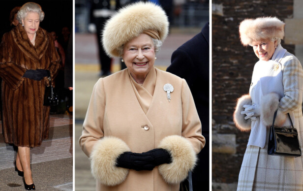 PELS: Det er usikkert om dronning Elizabeth kommer til å fortsette å bruke hattene, kåpene og de andre antrekkene hun eier, som består av ekte pels. FOTO: NTB scanpix
