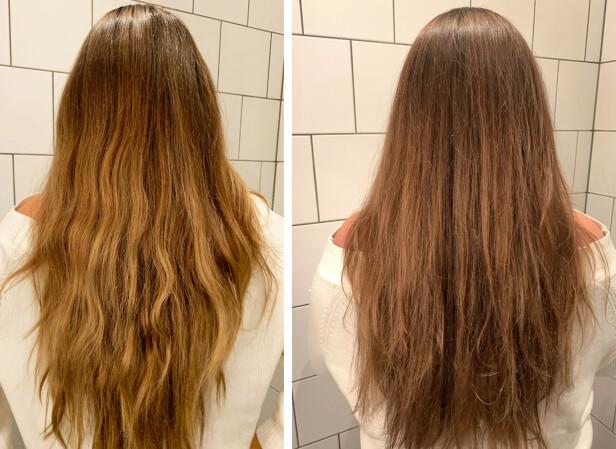 FØR OG ETTER: Bildet til venstre viser hvordan håret var før, bildet til høyre ble tatt etter at jeg hadde brukt masken. Foto: KK
