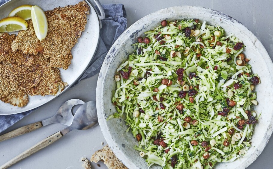 Sesampanert rødspette med salat. FOTO: Winnie Methmann