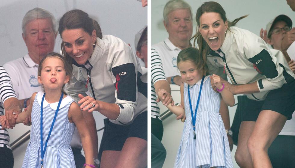 RAKK TUNGE: Prinsesse Charlotte er som barn flest! FOTO: NTB scanpix