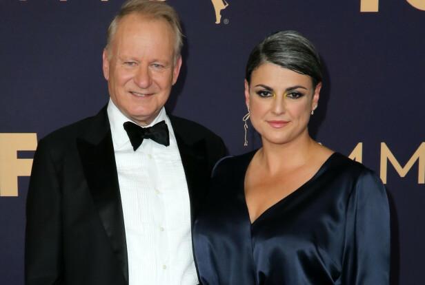 KONA: Stellan Skarsgård har vært gift med den amerikanske forfatteren Meghan Everett i 10 år. Her under Emmy Awards i Los Angeles høsten 2019. FOTO: NTB scanpix