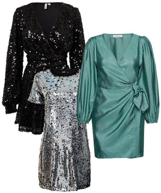 Svart kjole fra NLY Trend, kr 650. Grønn kjole fra Samsøe Samsøe, kr 1600. Paljettkjole fra Bik Bok, kr 399.