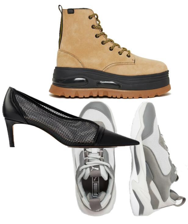 Boots fra Coolway via Nelly.com, kr 1149. Hæler fra Zara, kr 559. Sneakers fra Puma, kr 1195.