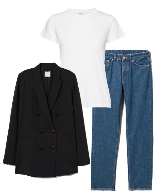 Blazer fra H&M, kr 399. T-skjorte fra Filippa K via Boozt.com, kr 450. Jeans fra Weekday, kr 500.