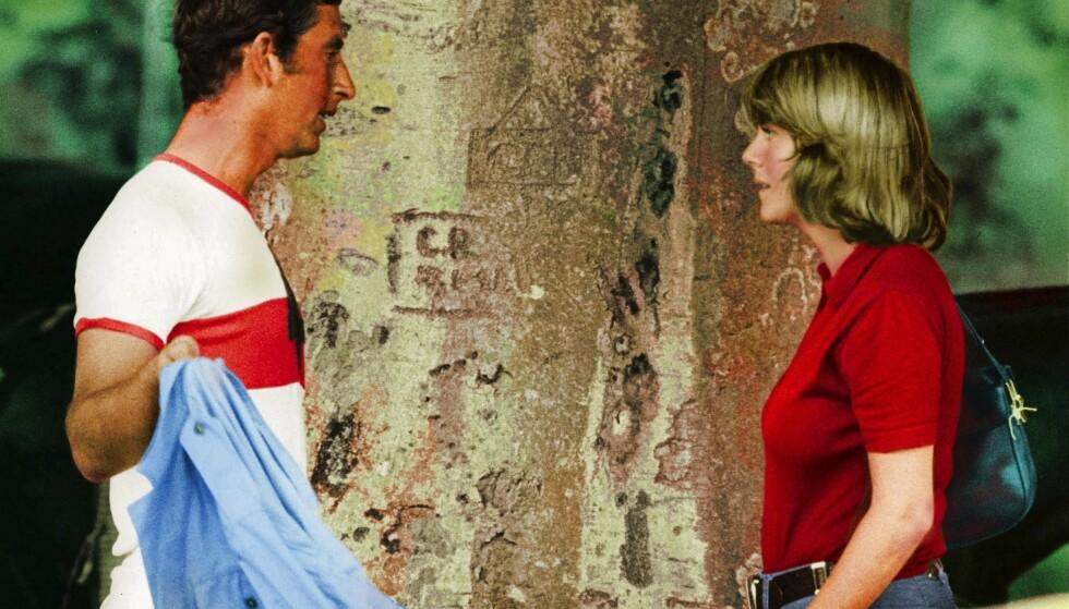 HETT MØT: Prince Charles og Camilla Parker Bowles etter en polokamp i Cirencester Park i juli 1975, der Charles spilte. Det er tydelig at gamle følelser fortsatt lever i beste velgående. FOTO: NTB Scanpix