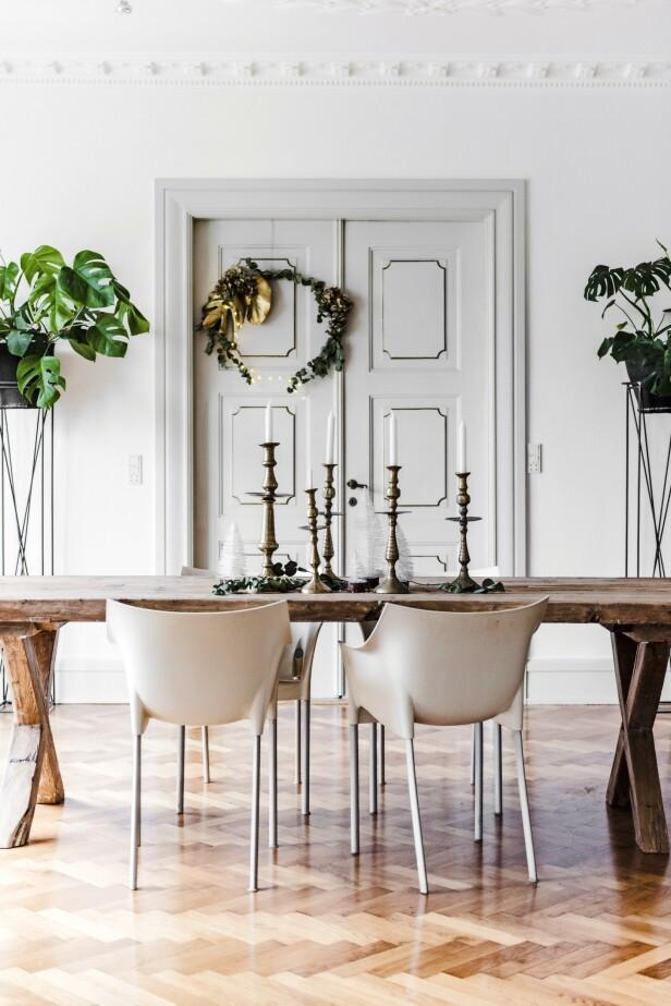 På spisebordet pynter tørkede eukalyptusgreiner, hvite juletrær og store lysestaker opp. De gamle, litt skakke marokkanske stakene i messing   fungerer som en kontrast til alt det andre som har en stram form. Tips! Vikle greiner og blader rundt en ring laget av ståltråd, og spraymal enkelte store blader med gull, så får du en fin krans til å henge på veggen eller døren. FOTO: Benjamin Lee Rønning Lassen