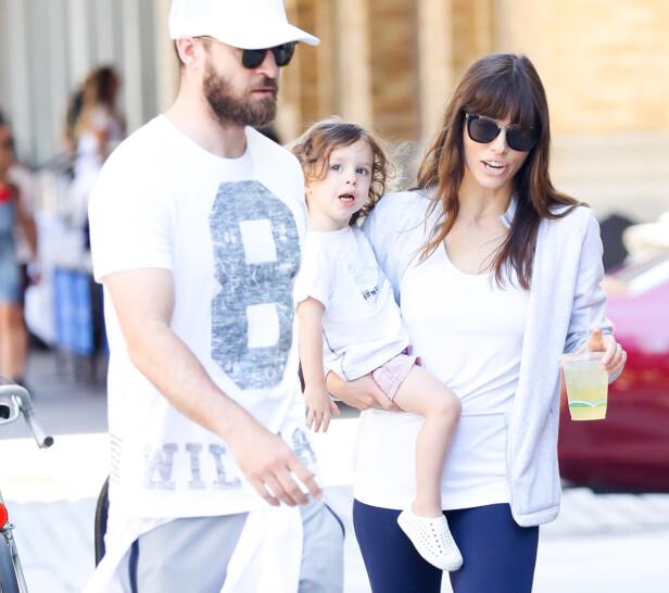 FORELDRE: Justin Timberlake og Jessica Biel er foreldre til sønnen Silas (4). Dette bildet er tatt i 2017. FOTO: NTB scanpix