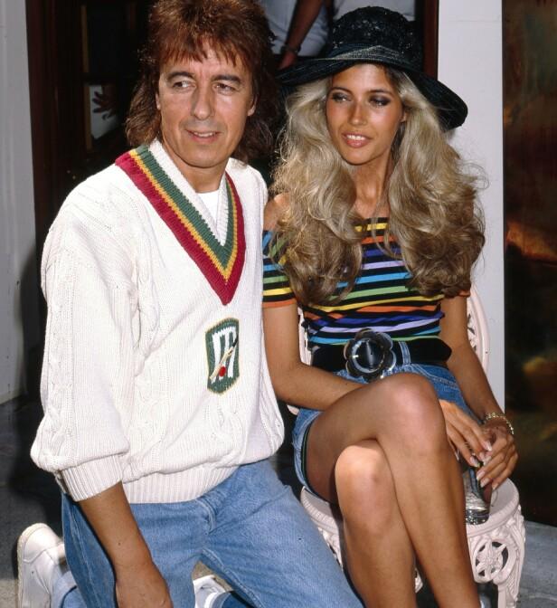 NYFORLOVET: Bill Wyman (52) og hans 18 år gamle forlovede Mandy Smith i 1989. Samme år giftet de seg. FOTO: NTBScanpix