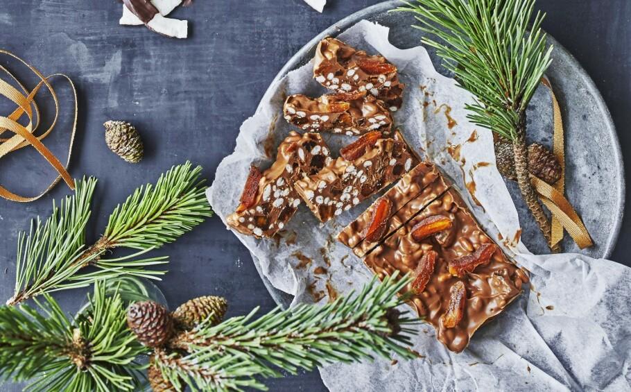 Nougatbrudd med aprikos og puffet ris. FOTO: Winnie Methmann