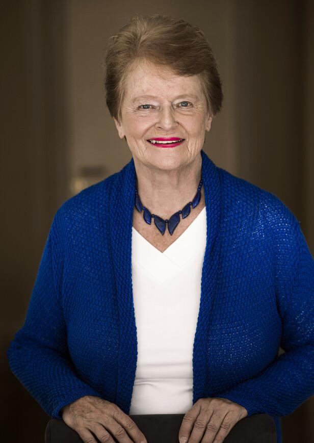 Gro Harlem   Brundtland er 80 år og fortsatt energisk. – Mye handler om gener og biologisk arv, men også om hva slags miljø foreldrene dine har skapt i oppveksten, sier Gro. FOTO: Astrid Waller