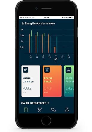 APP: Roede-appen deg et godt bilde på ditt energiinntak opp mot energiforbruket.